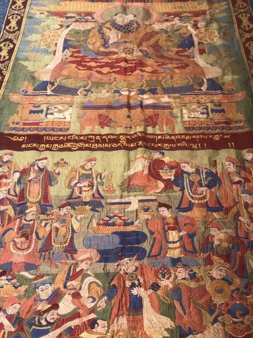 LARGE QING DYNASTY SILK EMBROIDERY THANGKA - 8