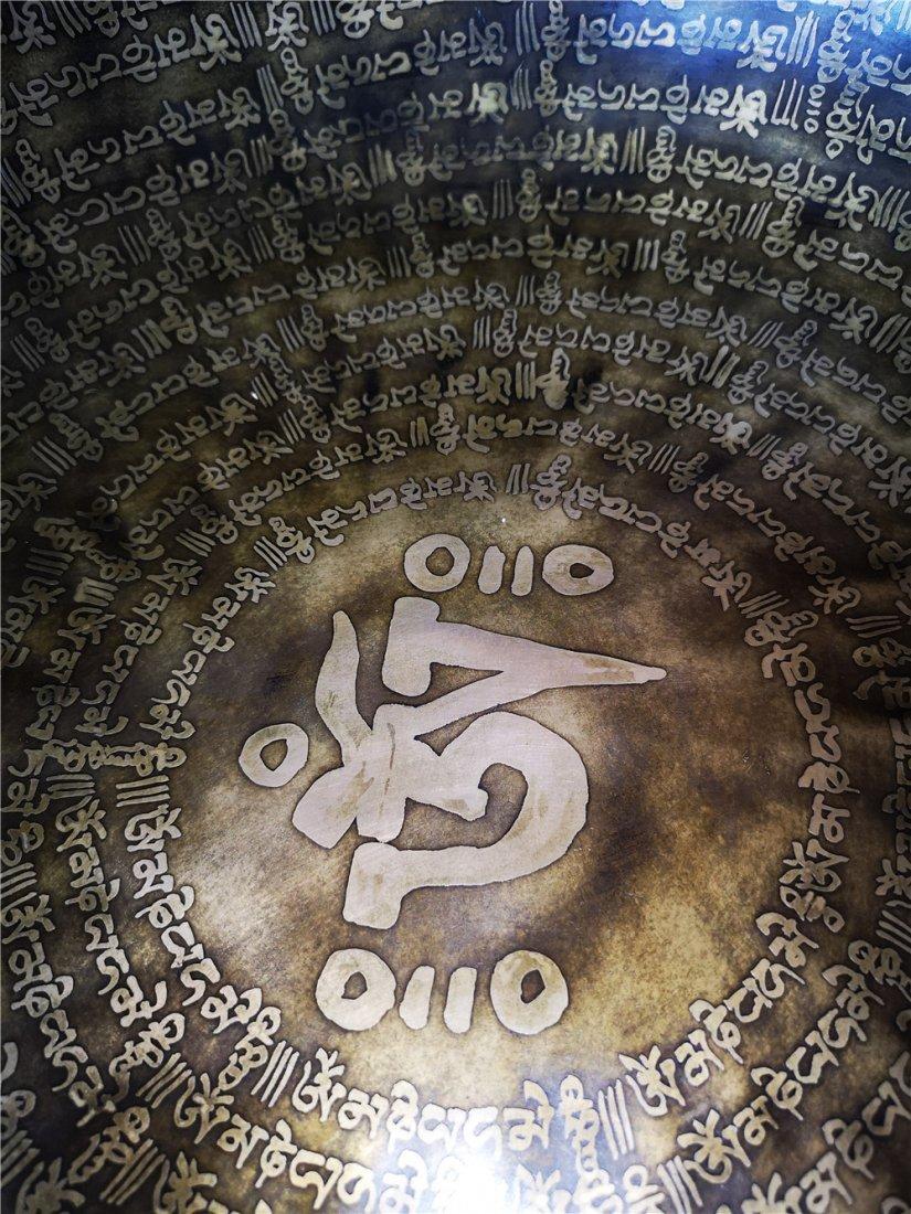 LARGE TIBETAN BUDDHIST MEDITATION COPPER BOWL - 5