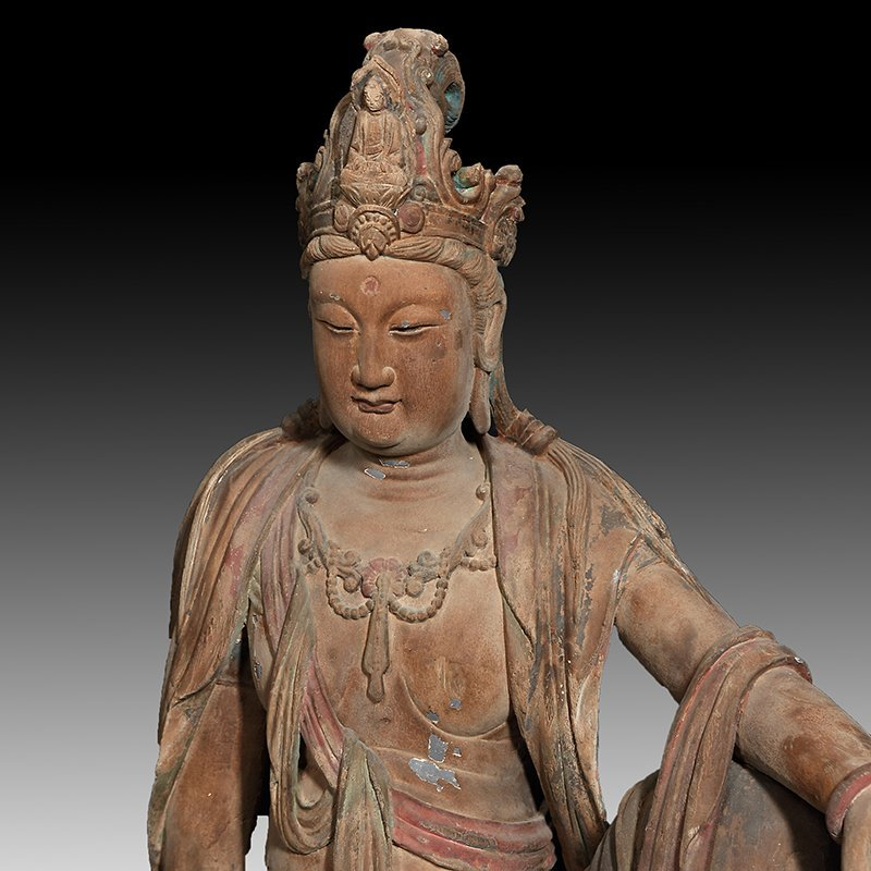 ANTIQUE CHINESE CARVED WPPD GUANYIN - 2