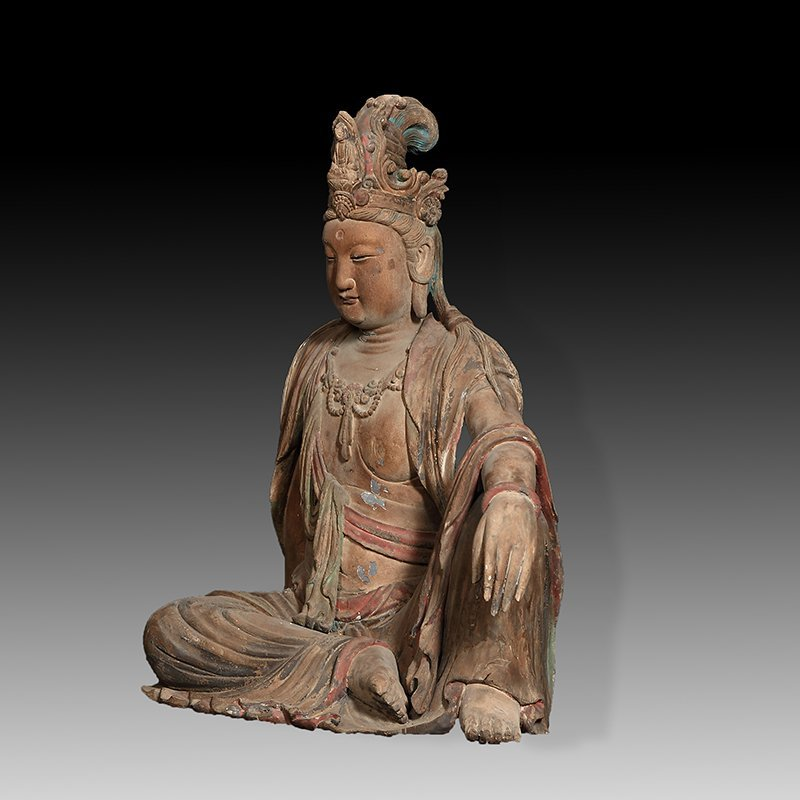 ANTIQUE CHINESE CARVED WPPD GUANYIN - 3