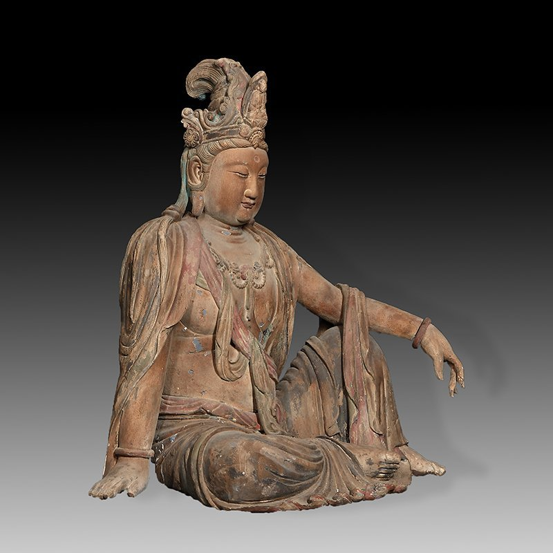 ANTIQUE CHINESE CARVED WPPD GUANYIN - 4