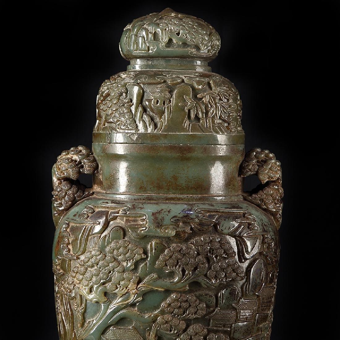 Large Chinese Qing Dynasty Hetian Jade  Vase - 2