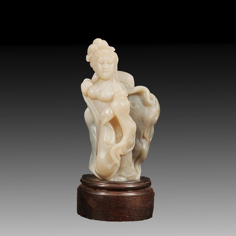 Chinese Shoushan Stone Statue Beautiful Girl