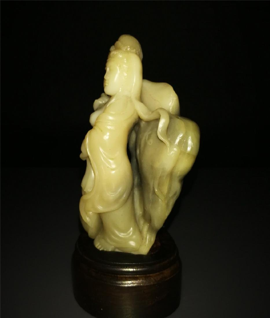 Chinese Shoushan Stone Statue Beautiful Girl - 2