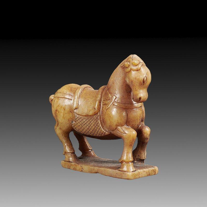 Antique Chinese Hetian Yellow Jade  Horse