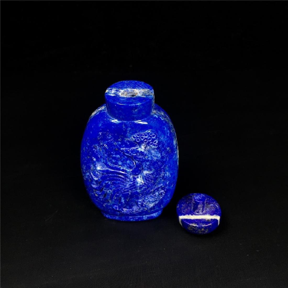 Chinese Lapis lazuli snuff bottle - 3