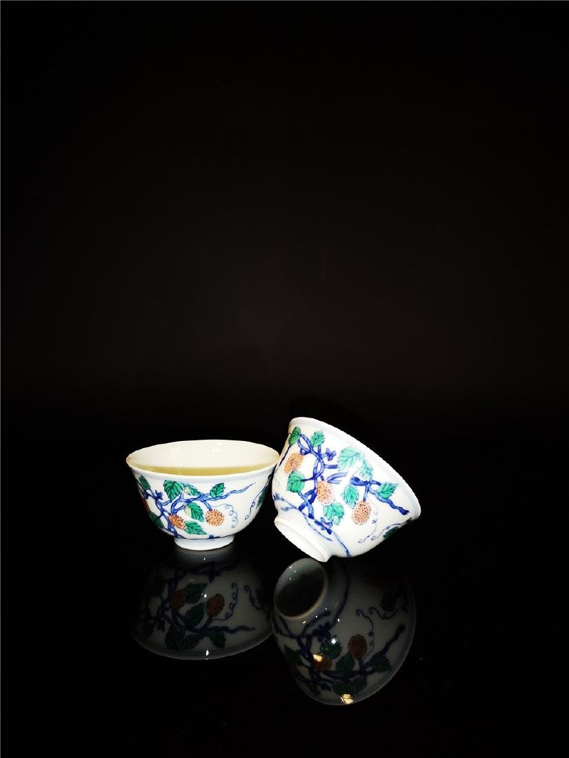 Pair of Chinese Dou cai  Porcelain Cups - 2