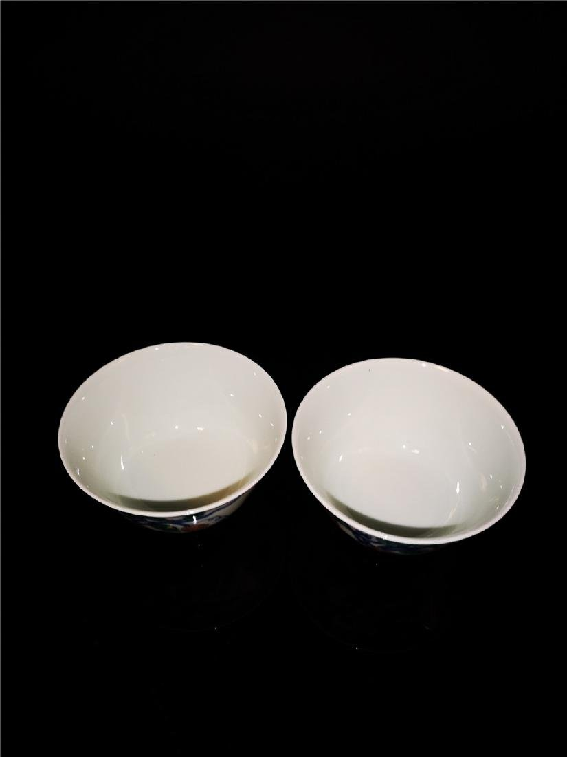 Pair of Chinese Dou cai  Porcelain Cups - 3