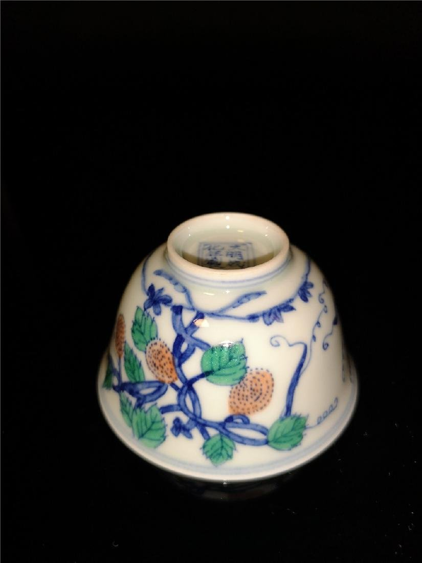 Pair of Chinese Dou cai  Porcelain Cups - 6