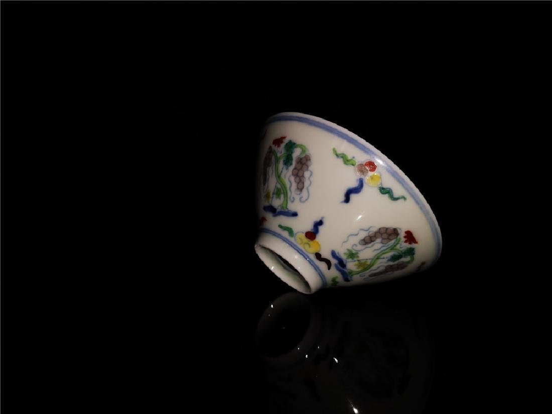 Chinese Doucai Porcelain Cup - 3