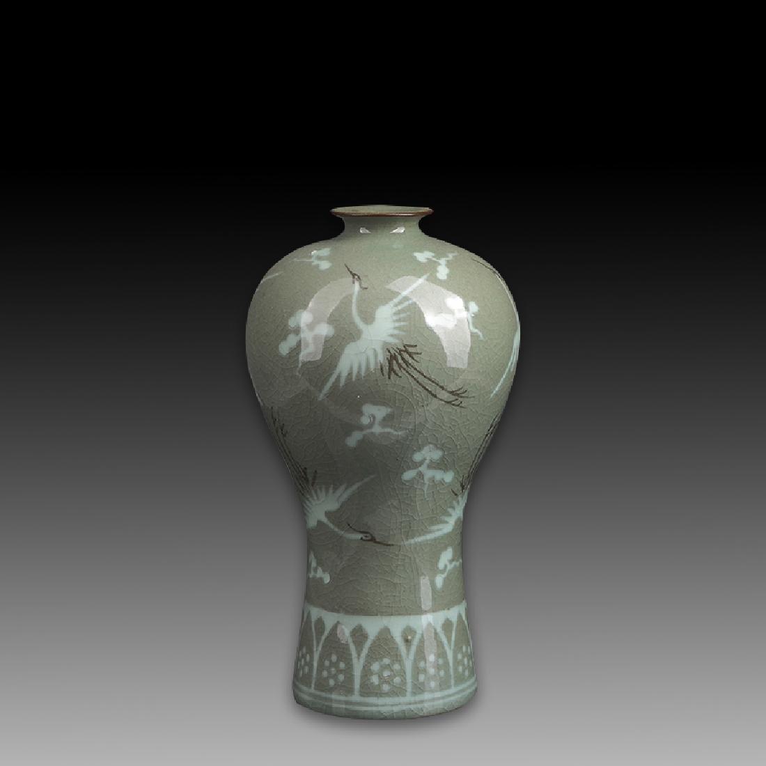 Korean celadon jar decorated with cranes