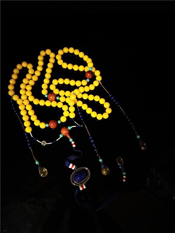 Chinese Amber Court Necklace