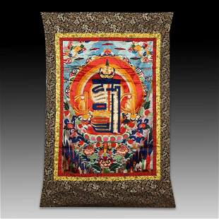 Chinese Sino-Tibetan painted brocade mounts silk Thangk