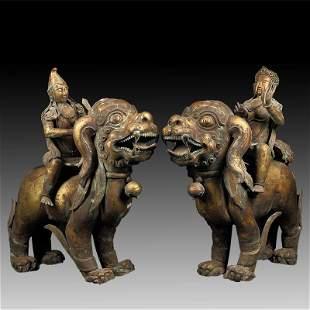 Pair of Chinese Bronze Buddha Figures