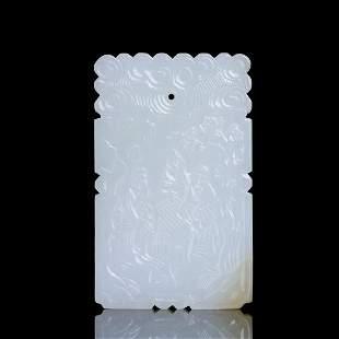 Chinese Qing Dynasty Hetian White Jade Pendant