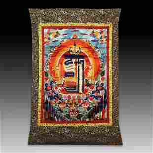 Chinese Sino-Tibetan painted brocade mounts silk Thangk