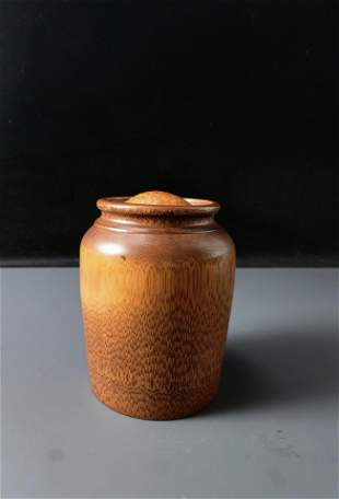 Chinese Carved Bamboo Tea Jar