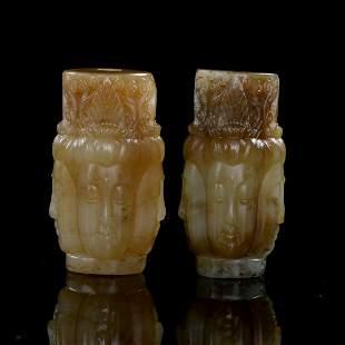 Pair of Chinese Hetian Jade Buddha Pendants