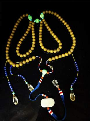 Natural carved chenxiang wood court necklace chaozhu