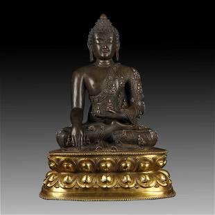 Chinese Gilt Bronze Manjushiri Buddha