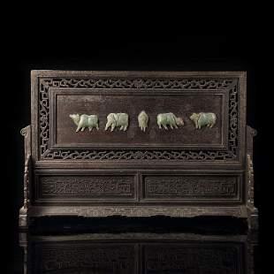 Chinese Hetian Jade Screen With Hardwood Frame
