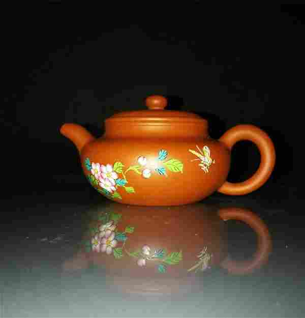Chinese zisha teapot and cover.(Mark of Wu yusheng)