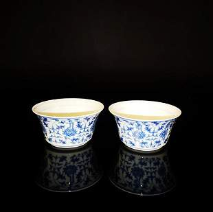 Pair of Chinese Blue and White Porcelain Cups