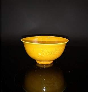 Chinese Yellow Dragon Porcelain Bowl