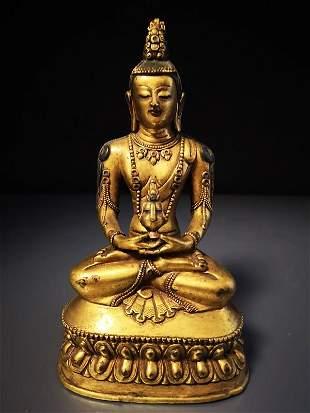 Sino-Tibetan Gilt Bronze Figure Buddha
