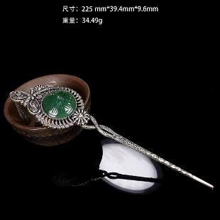 Chinese Qing Green Jade Hair pin