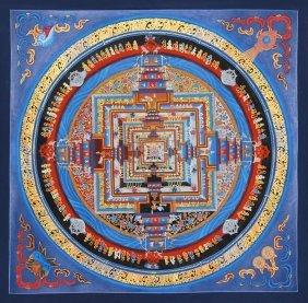 Tibetan Cloth Thangka Depicting Dzambala