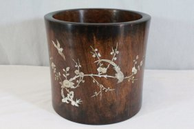 Lg Chinese Huanghuali Brush Holder Inlaid W/ Mop
