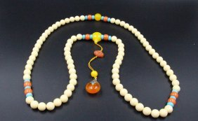 Chinese Ivory Carved Necklace With Pendant