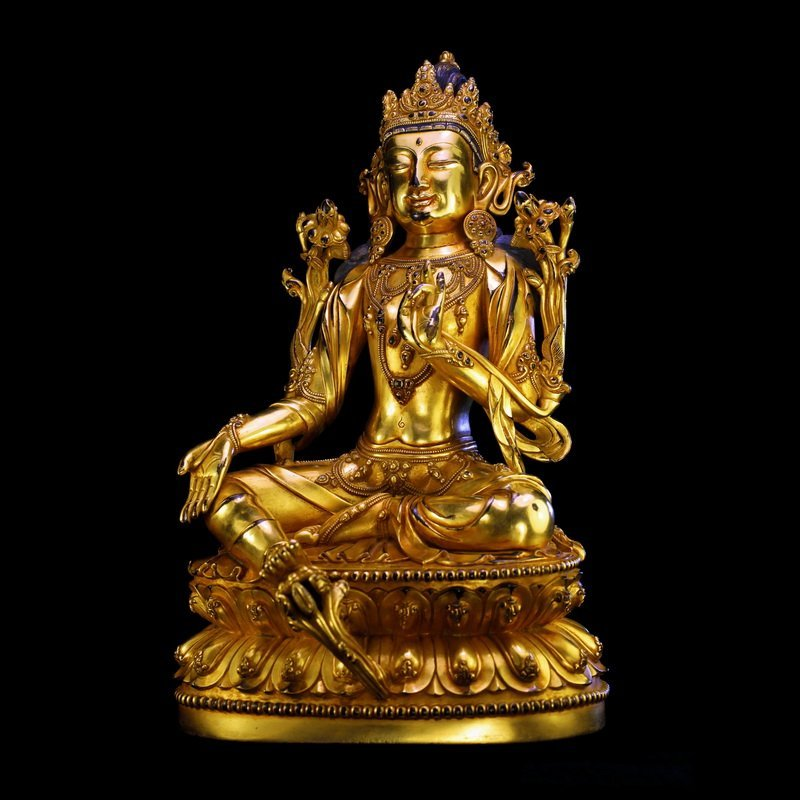 Chinese Antique Gilt Bronze Seated Buddha - 4