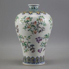 Chinese Doucai Porcelain Vase, Yongzheng Mark.
