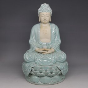 A Chinese Longquan Glaze Porcelain Buddha
