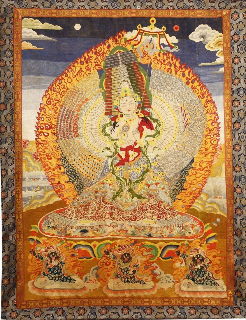 Chinese  qing dynasty silk embroideries of huge thangka