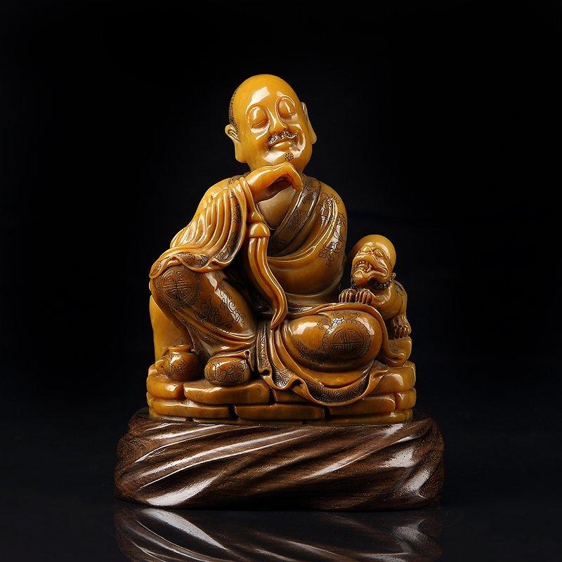 Chinese Shoushan Stone Statue - Luohan