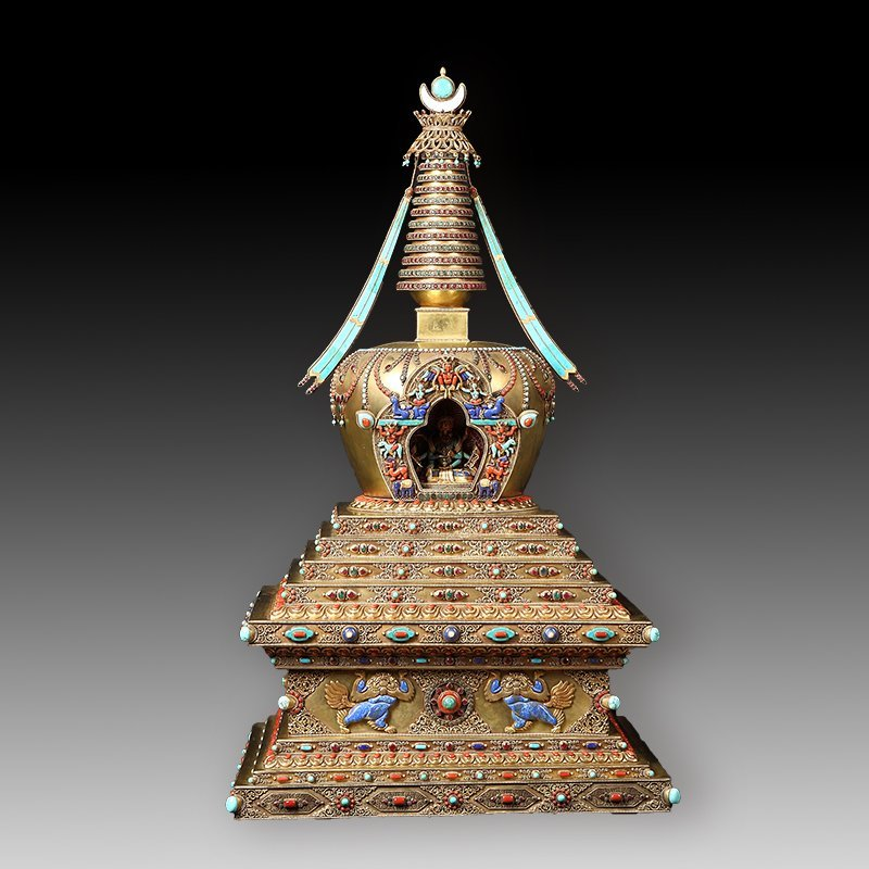 Tibetan Buddhism tower of silver with a lot of jewel