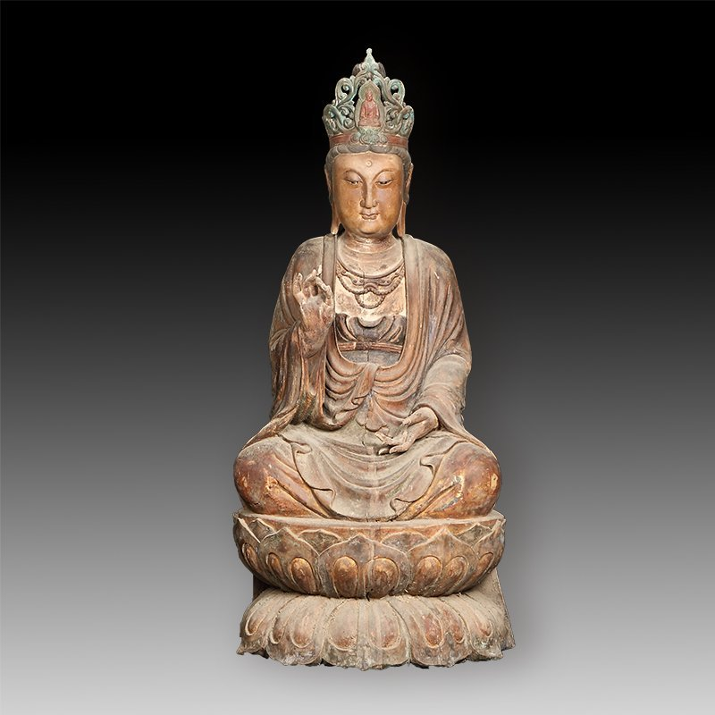 Wood sitting guanyin statue of the tang dynasty