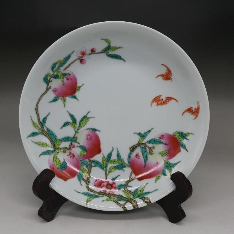 Qing yongzheng year pastel wufu peach plate