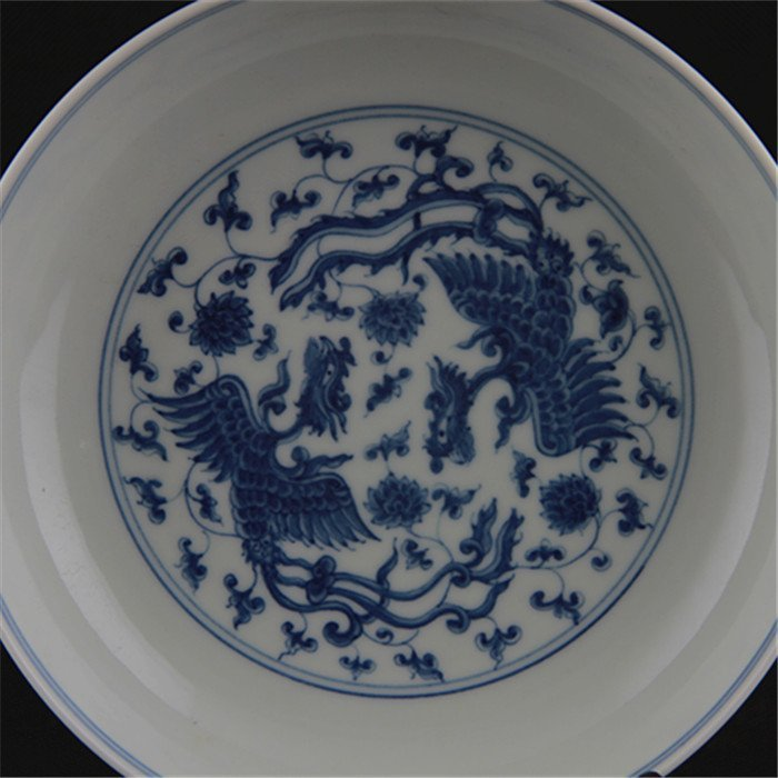 Ming dynasty Chenghua year put lotus flower blue and  w - 3