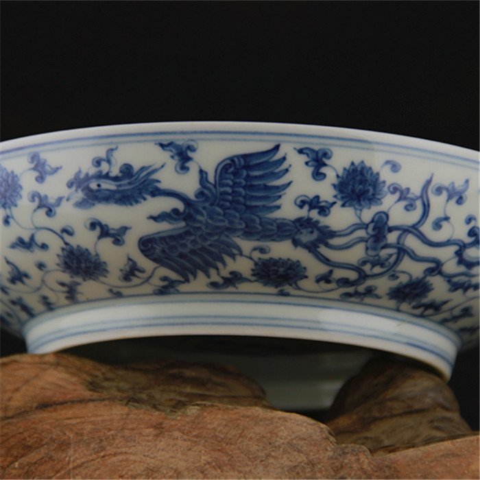 Ming dynasty Chenghua year put lotus flower blue and  w - 4