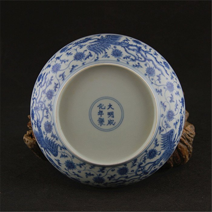 Ming dynasty Chenghua year put lotus flower blue and  w - 5
