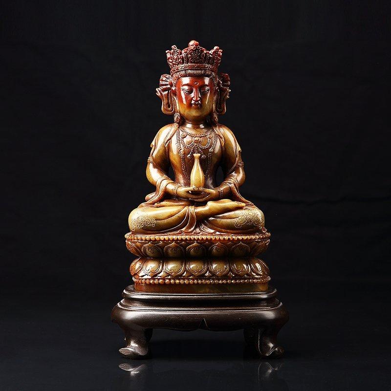 Chinese Antique Guan Yin qing shou stone