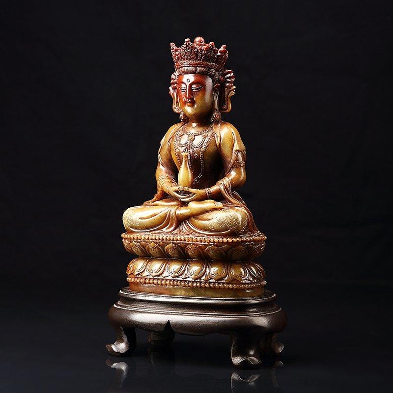 Chinese Antique Guan Yin qing shou stone - 3