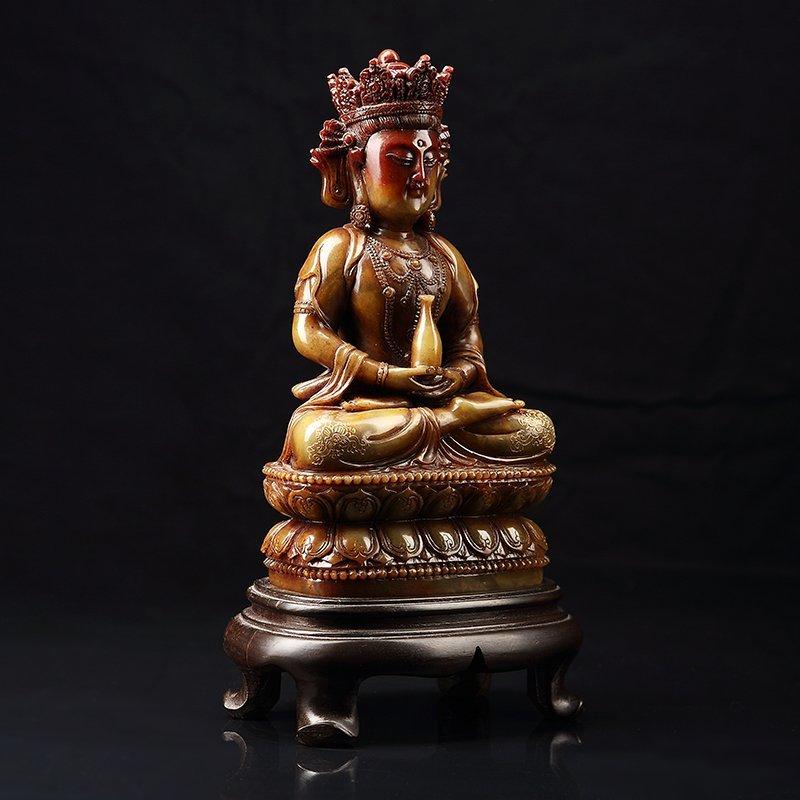 Chinese Antique Guan Yin qing shou stone - 4