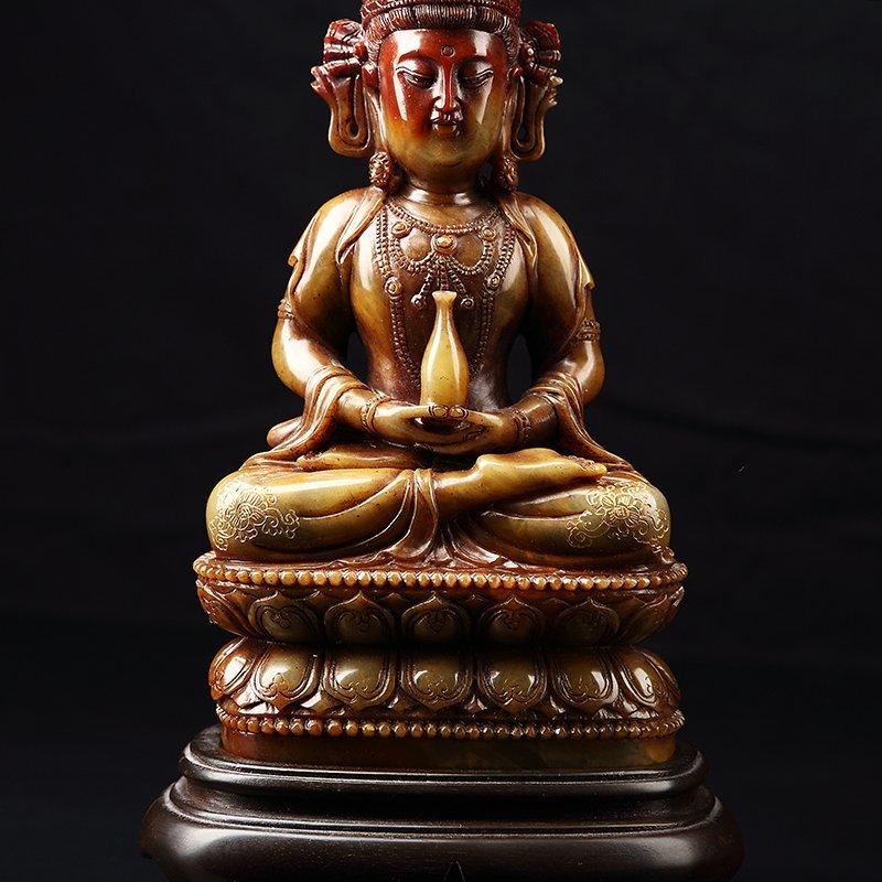 Chinese Antique Guan Yin qing shou stone - 5