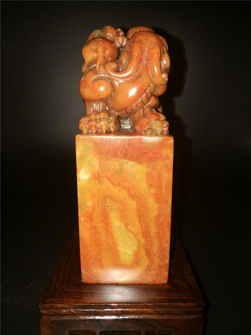 Chinese Golden Stone Seal Chop Carving