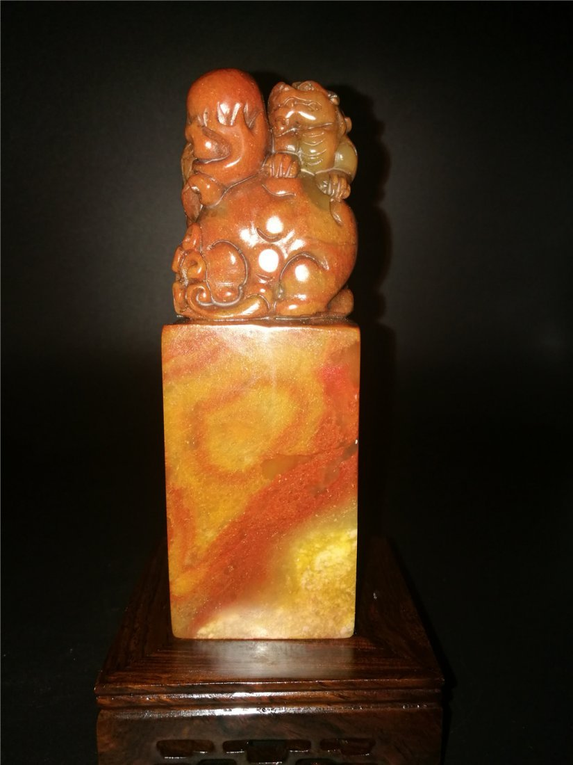 Chinese Golden Stone Seal Chop Carving - 2